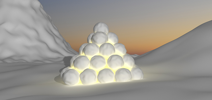 Snowball pyramide made for movement