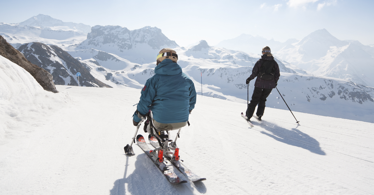 La Plagne skiing adult with disabilities made for movement