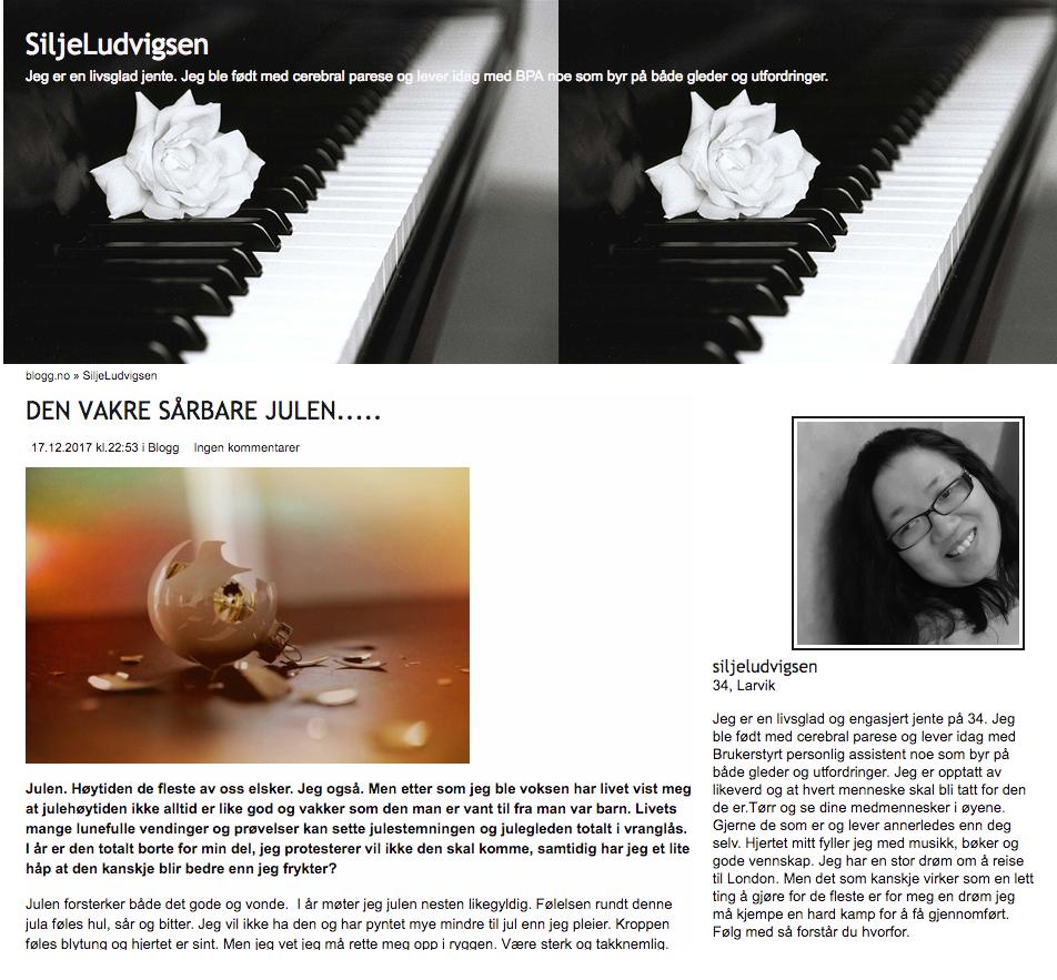 Forsiden til Silje Ludvigsen sin blogg. Cerebral parese: Disse bloggerne og nettstedene bør du sjekke ut