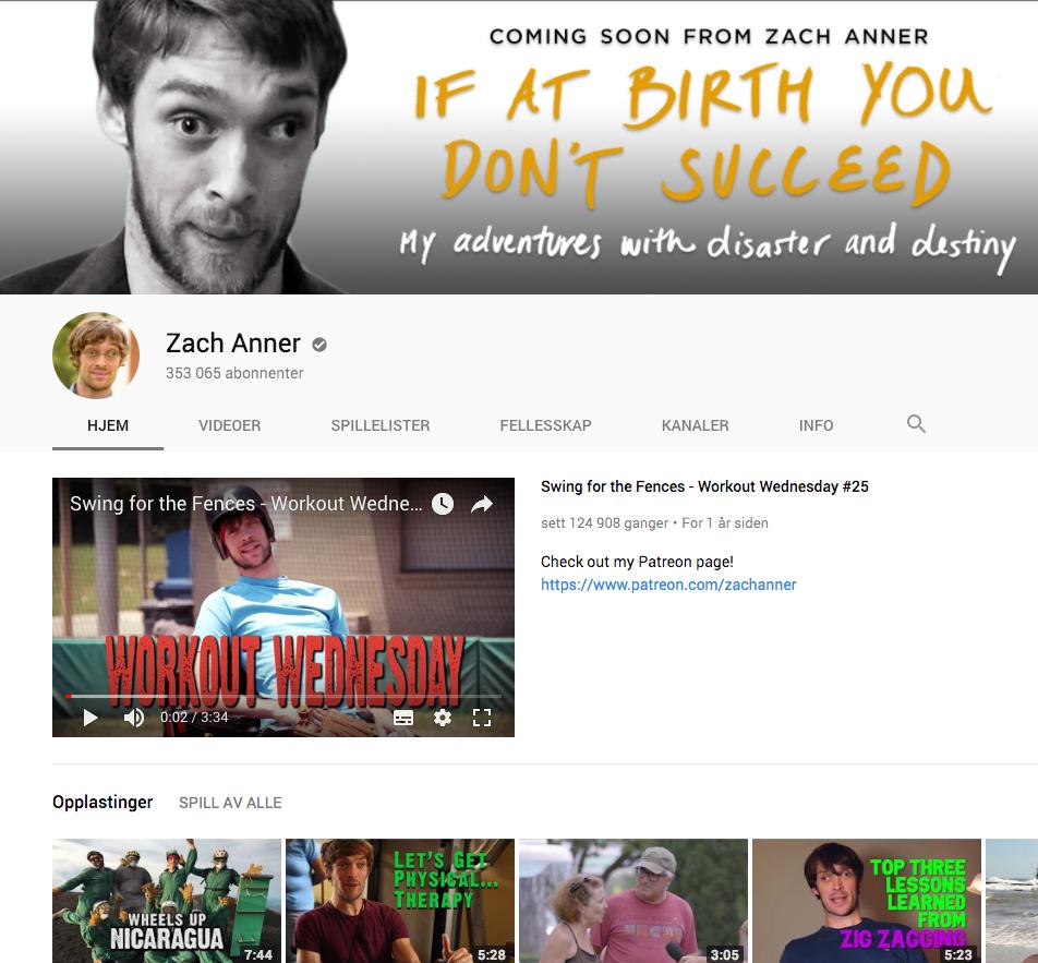 Forsiden til Zach Anner sin YouTube-kanal. Cerebral parese: Disse bloggerne og nettstedene bør du sjekke ut