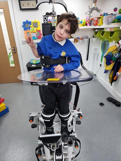 Young boy try out the innowalk Pro at Kids Physio in London